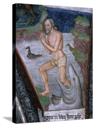 Jonah Stepping from Whale's Mouth, Fresco, 15th - 16th Century--Stretched Canvas Print