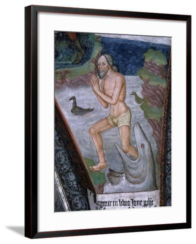 Jonah Stepping from Whale's Mouth, Fresco, 15th - 16th Century--Framed Art Print