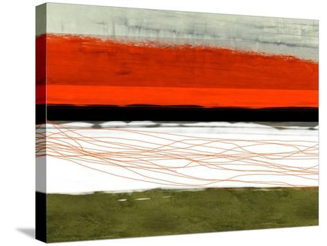 Abstract Stripe Theme Orange and Black-NaxArt-Stretched Canvas Print