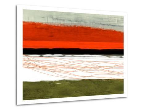 Abstract Stripe Theme Orange and Black-NaxArt-Metal Print