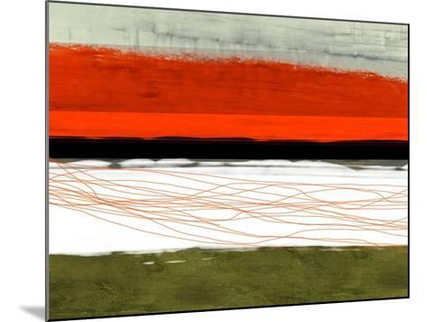 Abstract Stripe Theme Orange and Black-NaxArt-Mounted Art Print