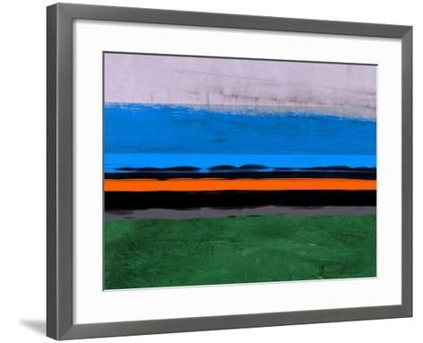 Abstract Stripe Theme Orange and Blue-NaxArt-Framed Art Print
