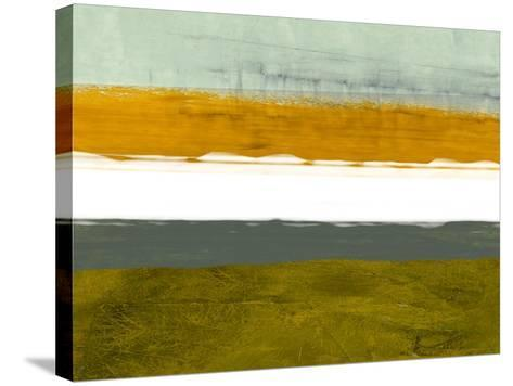 Abstract Stripe Theme Yellow and White-NaxArt-Stretched Canvas Print