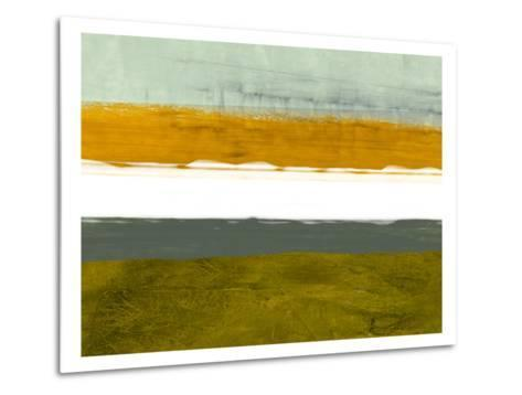 Abstract Stripe Theme Yellow and White-NaxArt-Metal Print