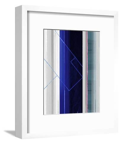 Abstract White and Dark Blue-NaxArt-Framed Art Print