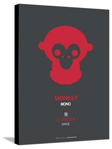 Red Mokey Multilingual Poster-NaxArt-Stretched Canvas Print