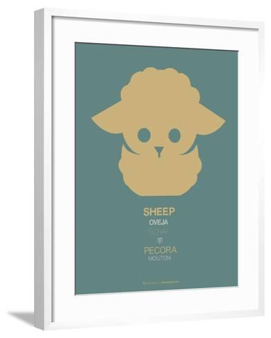 Yellow Sheep Multilingual Poster-NaxArt-Framed Art Print