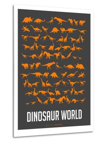 Dinosaur Poster Orange-NaxArt-Metal Print