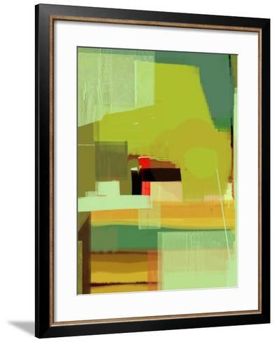 Green and Brown Abstract 5-NaxArt-Framed Art Print