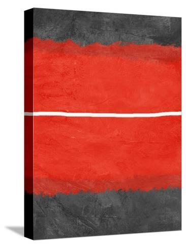 Grey and Red Abstract 2-NaxArt-Stretched Canvas Print
