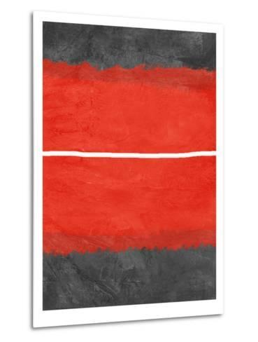 Grey and Red Abstract 2-NaxArt-Metal Print