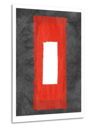 Grey and Red Abstract 4-NaxArt-Metal Print
