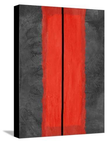 Grey and Red Abstract 5-NaxArt-Stretched Canvas Print