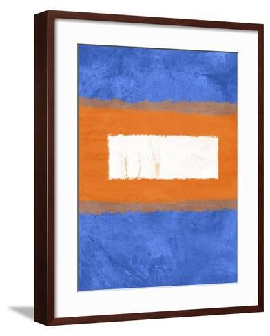 Blue and Orange Abstract Theme 1-NaxArt-Framed Art Print