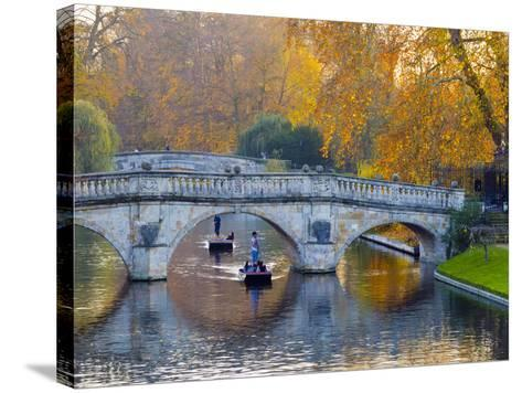 UK, England, Cambridge, the Backs, Clare and King's College Bridges over River Cam in Autumn-Alan Copson-Stretched Canvas Print
