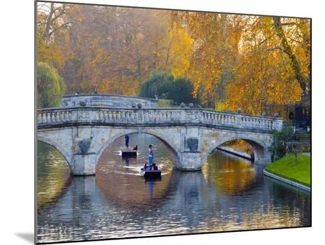 UK, England, Cambridge, the Backs, Clare and King's College Bridges over River Cam in Autumn-Alan Copson-Mounted Photographic Print
