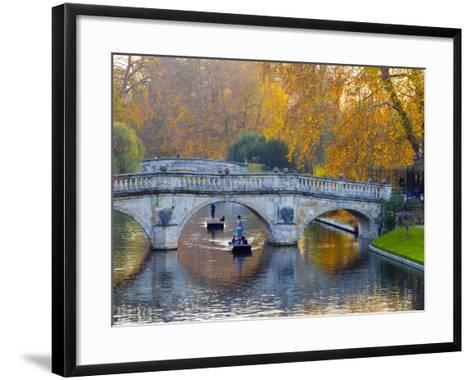 UK, England, Cambridge, the Backs, Clare and King's College Bridges over River Cam in Autumn-Alan Copson-Framed Art Print