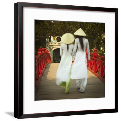 Girls Wearing Ao Dai Dress, Huc Bridge, Hoan Kiem Lake, Hanoi, Vietnam-Jon Arnold-Framed Art Print