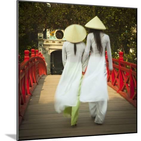 Girls Wearing Ao Dai Dress, Huc Bridge, Hoan Kiem Lake, Hanoi, Vietnam-Jon Arnold-Mounted Photographic Print