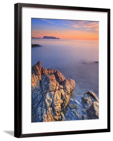 Italy, Sardinia, Olbia-Tempio District, Budoni, Coastline and Tavolara Island-Francesco Iacobelli-Framed Art Print