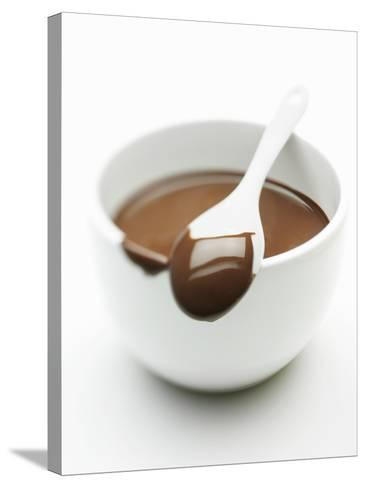Chocolate Coated Spoon on a Bowl of Melted Chocolate-Silvia Baghi-Stretched Canvas Print