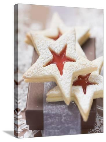 Star-Shaped Jam Biscuits with Icing Sugar (Christmas)--Stretched Canvas Print