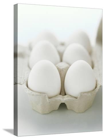 A Carton of Six White Eggs--Stretched Canvas Print