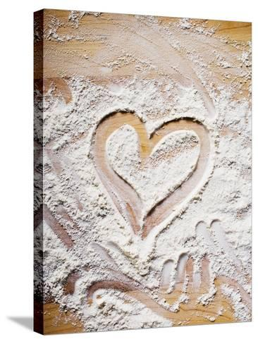 Heart Drawn in Flour on Wooden Background--Stretched Canvas Print