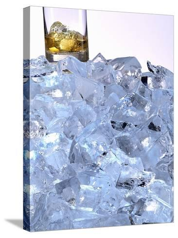 A Whiskey Glass on a Mountain of Ice Cubes-Michael Meisen-Stretched Canvas Print