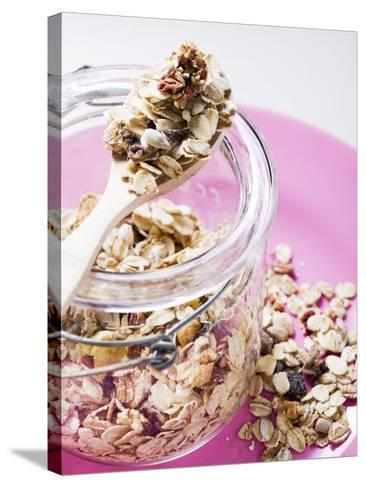 Muesli with Dried Fruit in Preserving Jar--Stretched Canvas Print