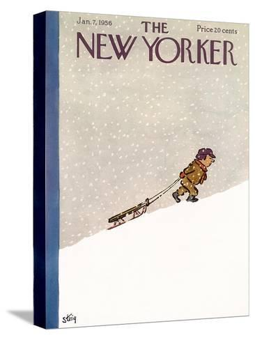 The New Yorker Cover - January 7, 1956-William Steig-Stretched Canvas Print