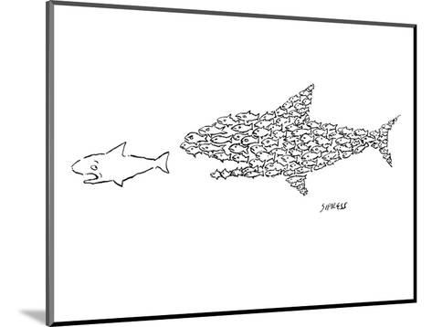 A shark is chased by a school of fish that has organized into the shape of? - New Yorker Cartoon-David Sipress-Mounted Premium Giclee Print