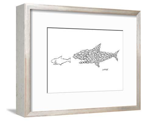 A shark is chased by a school of fish that has organized into the shape of? - New Yorker Cartoon-David Sipress-Framed Art Print