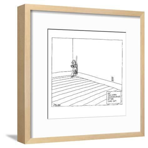A child plays on a tablet in the corner of the room with the following cap? - New Yorker Cartoon-Jack Ziegler-Framed Art Print