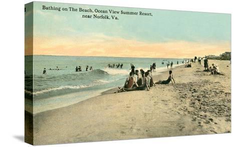 Vintage Beach Scene Near Norfolk, Virginia--Stretched Canvas Print