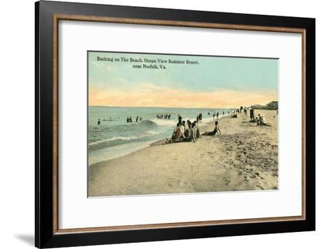 Vintage Beach Scene Near Norfolk, Virginia--Framed Art Print