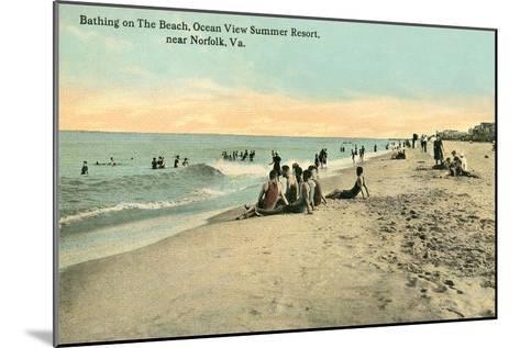 Vintage Beach Scene Near Norfolk, Virginia--Mounted Art Print