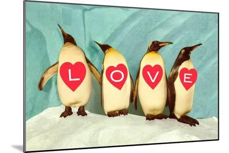 Penguins Spelling Out Love--Mounted Art Print