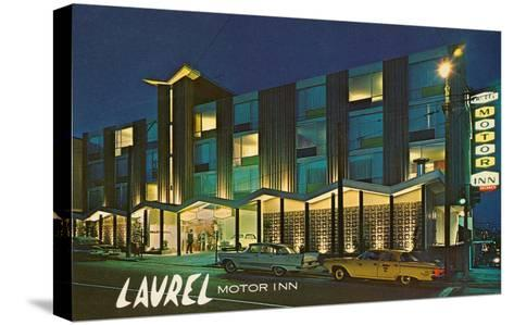 Laurel Motor Inn at Night--Stretched Canvas Print