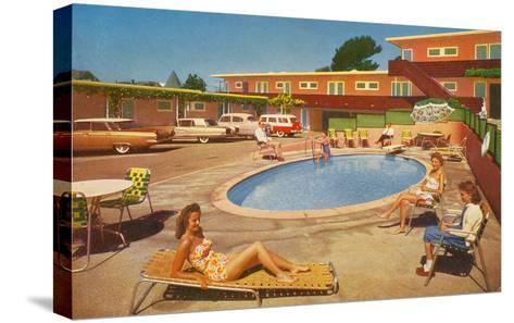 Orange Motel Courtyard--Stretched Canvas Print