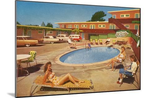 Orange Motel Courtyard--Mounted Art Print