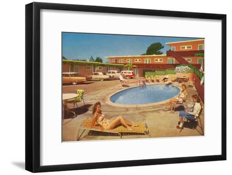 Orange Motel Courtyard--Framed Art Print