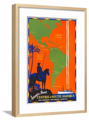 Around and About Central and South America Travel Poster--Framed Art Print