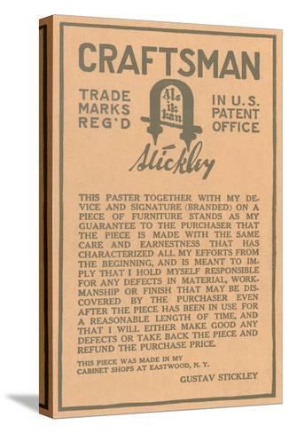 Stickley Craftsman Label--Stretched Canvas Print