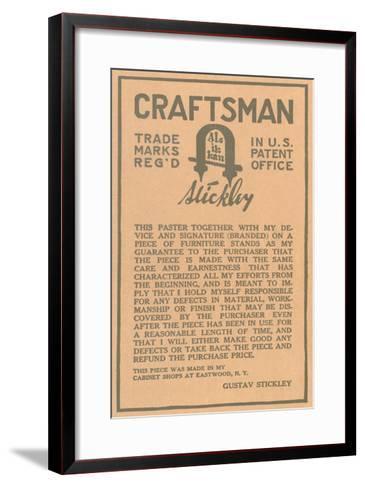Stickley Craftsman Label--Framed Art Print