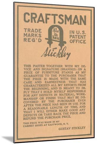 Stickley Craftsman Label--Mounted Art Print