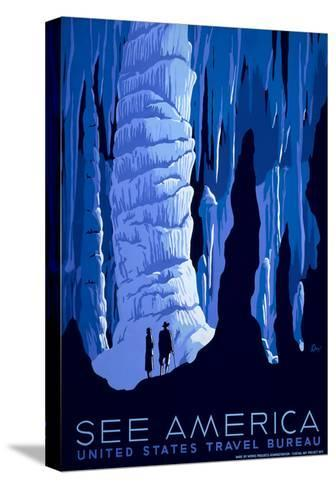 See American Travel Poster, Caverns--Stretched Canvas Print