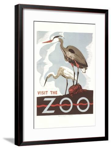 Visit the Zoo, Cranes--Framed Art Print