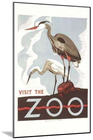 Visit the Zoo, Cranes--Mounted Art Print