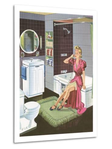 Thirties Bathroom Cheesecake--Metal Print